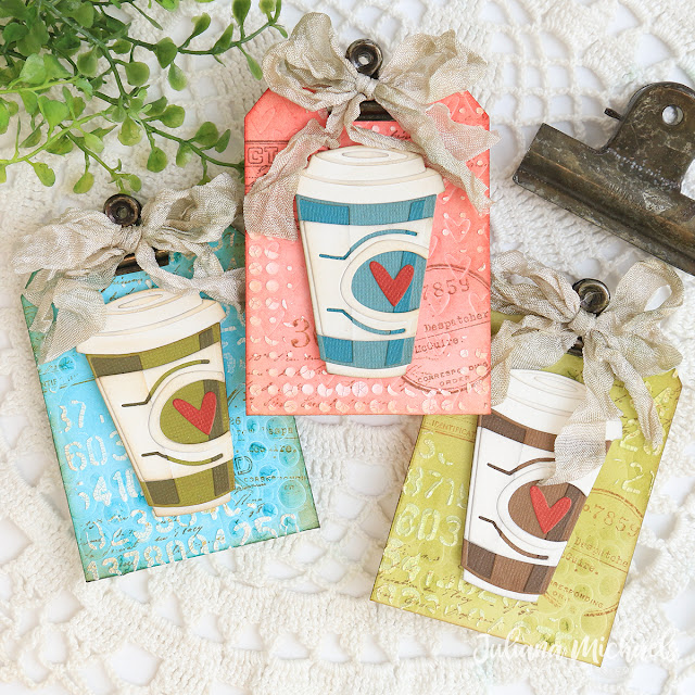 Coffee Gift Card Holders by Juliana Michaels featuring Tim Holtz Cafe Colorize Thinlits