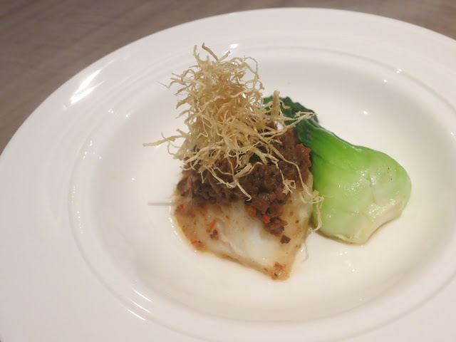 Steamed Cod Fish with Bamboo Shoots, Mushrooms and Minced Pork