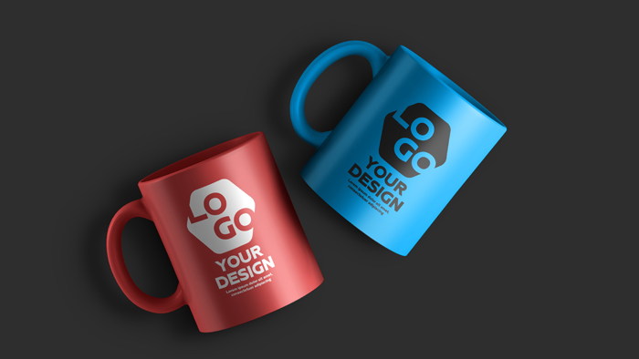 Two Color Ceramic Coffee Mug PSD Mockup