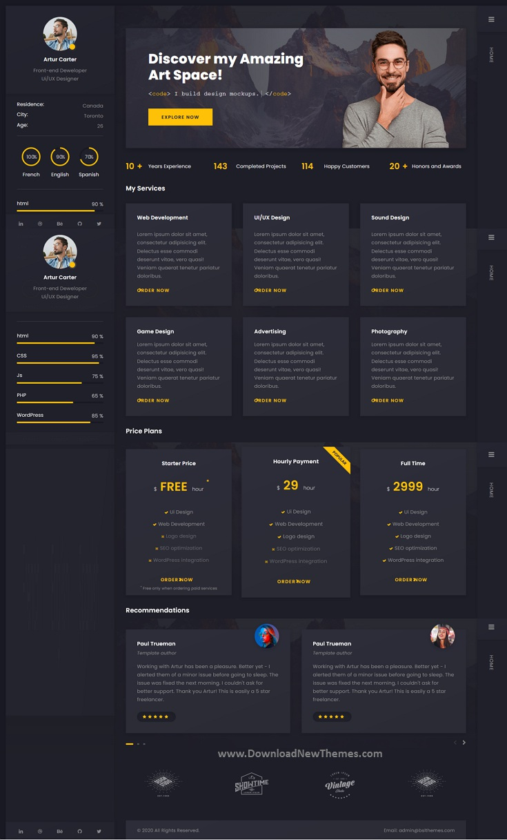 CV Resume WordPress Theme