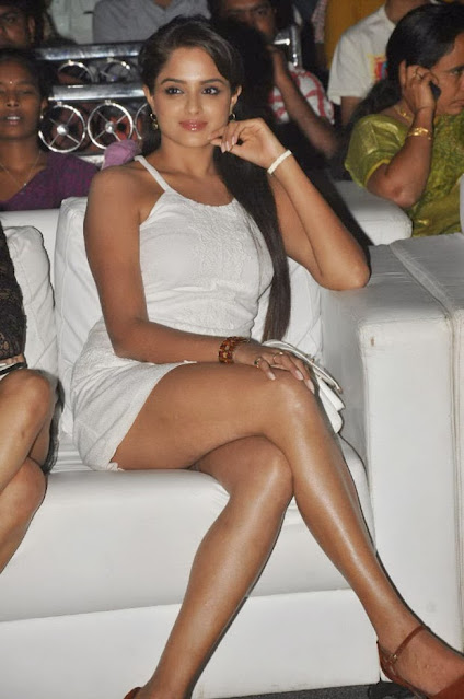 Telugu Actress Asmitha Sood Sexy Pose in Short Dress Navel Queens
