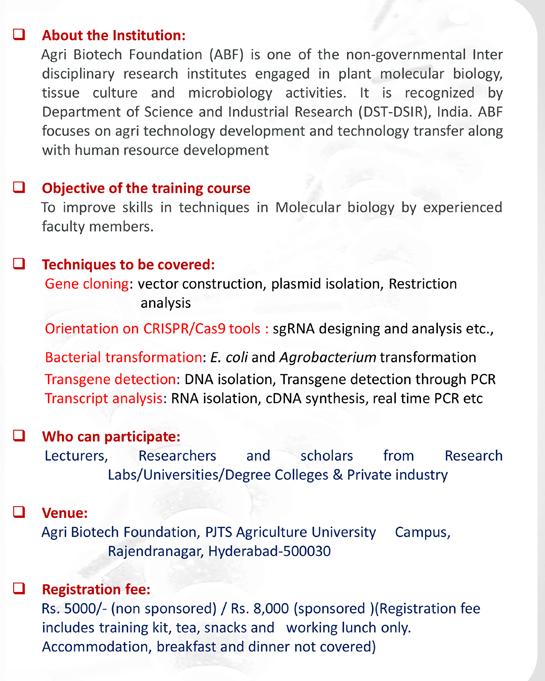 ABF Training Program on Techniques in Molecular Biology