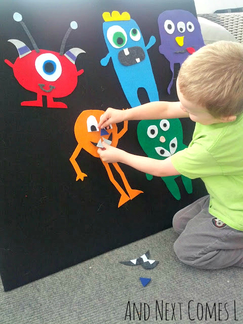 Using mix and match monsters on the felt board to explore and learn about emotions