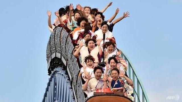 Tidak boleh jerit naik 'roller coaster', perlu pakai pelitup setiap masa di taman tema Jepun