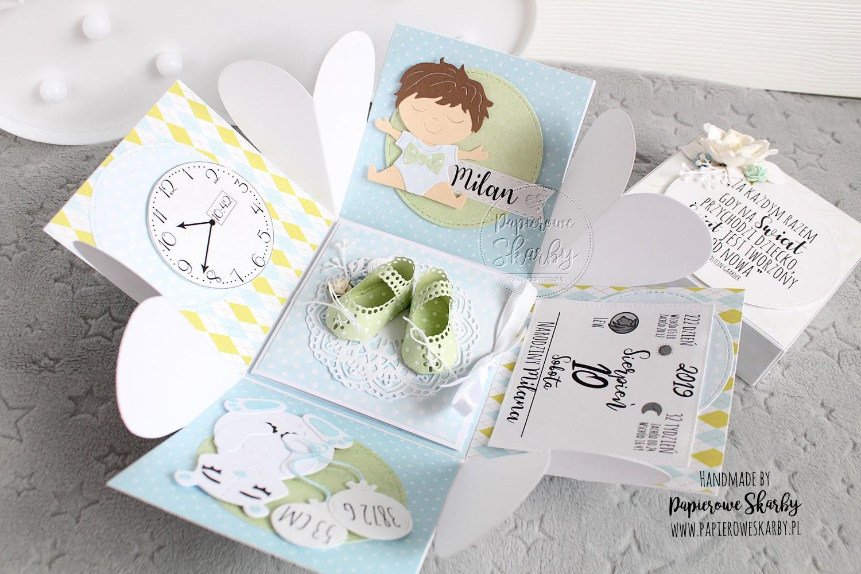 scrapbooking cardmaking handmade rękodzieło kartka karteczka 3d przestrzenna exploding box eksplodujące pudełko ilovedigi cyfrowe stemple digi stempel kartka gratulacyjna metryka metryczka chrzest roczek urodzinki witaj na świecie welcome baby new baby newborn papierowe skarby