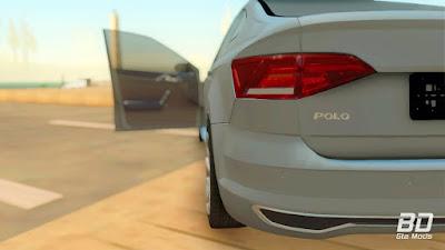 Download do mod Volkswagen Polo 2019 para o jogo GTA San Andreas PC traseira lateral