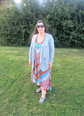 Summer dress, sandals and waterfall cardigan