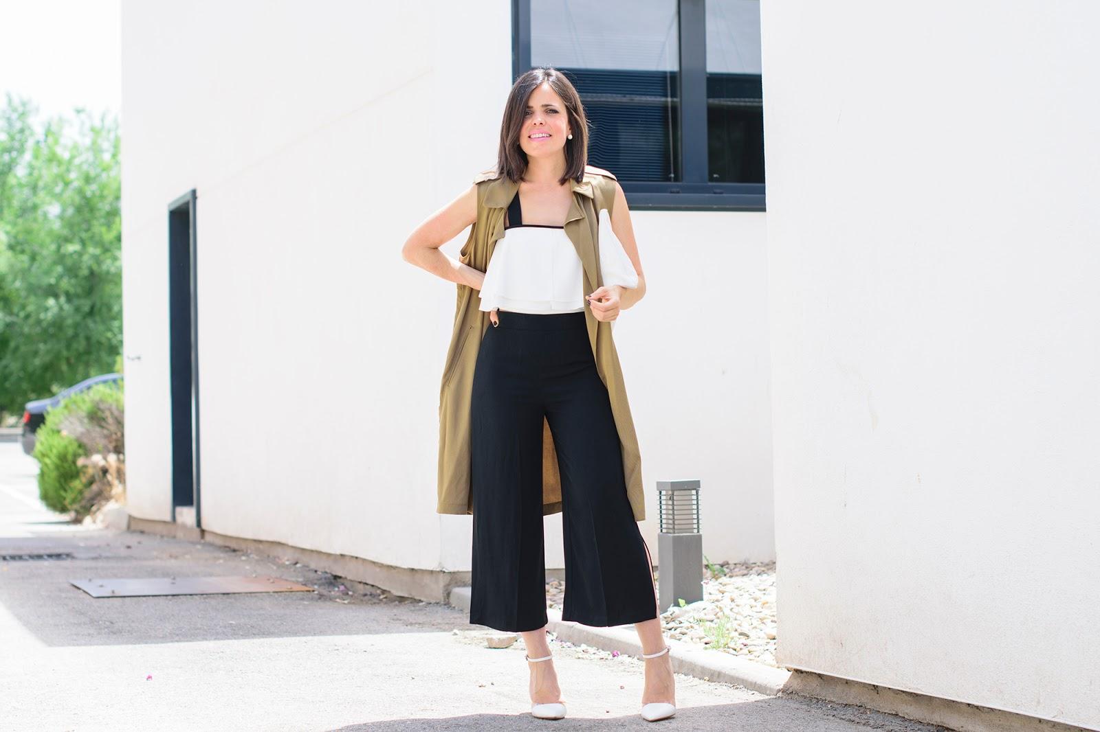 Look con culottes negros de Zara