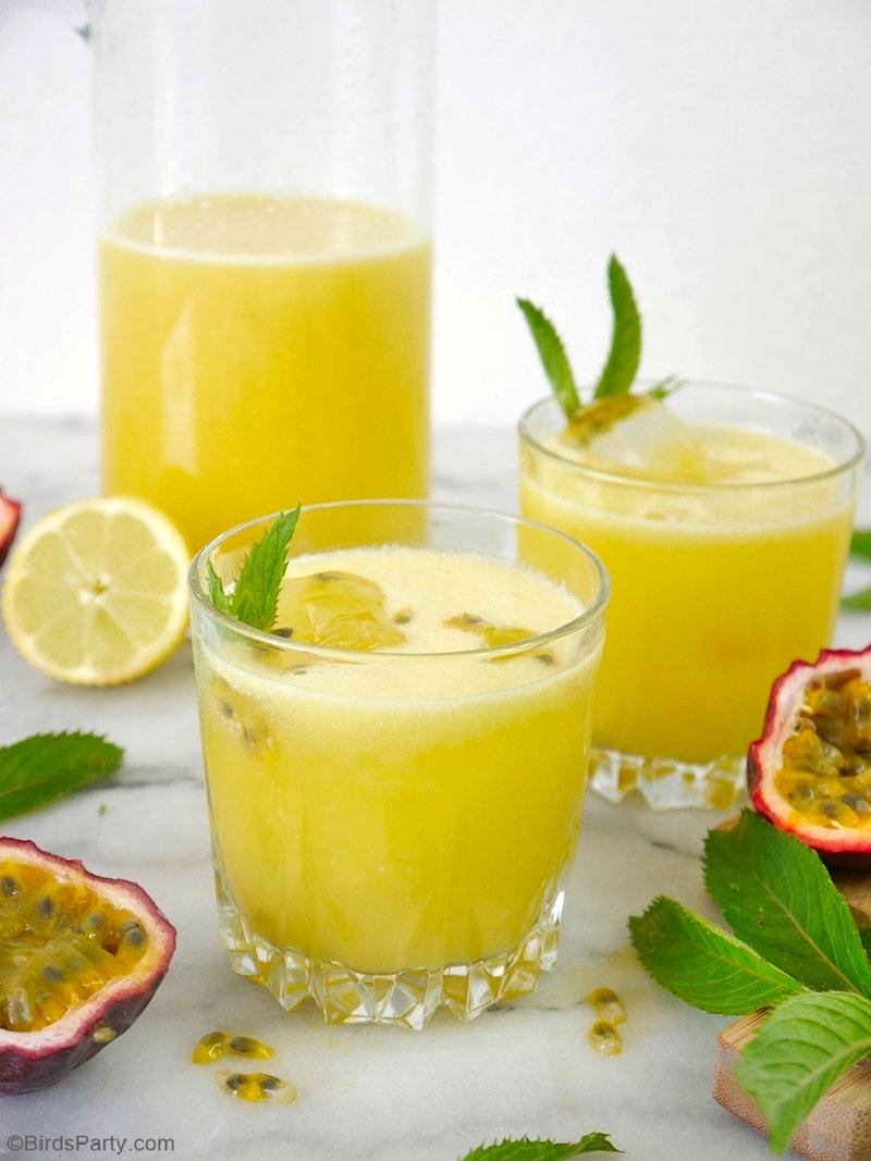Cantaloupe Melon Lemonade - quick, easy and delicious refreshing drink to serve in summer and make the best of your seasonal fruits! by BirdsParty.com @BirdsParty #drinks #beverages #recipe #melon #cantaloupemelon #summerdrink #cocktail #lemonade #melonlemonade #melonade