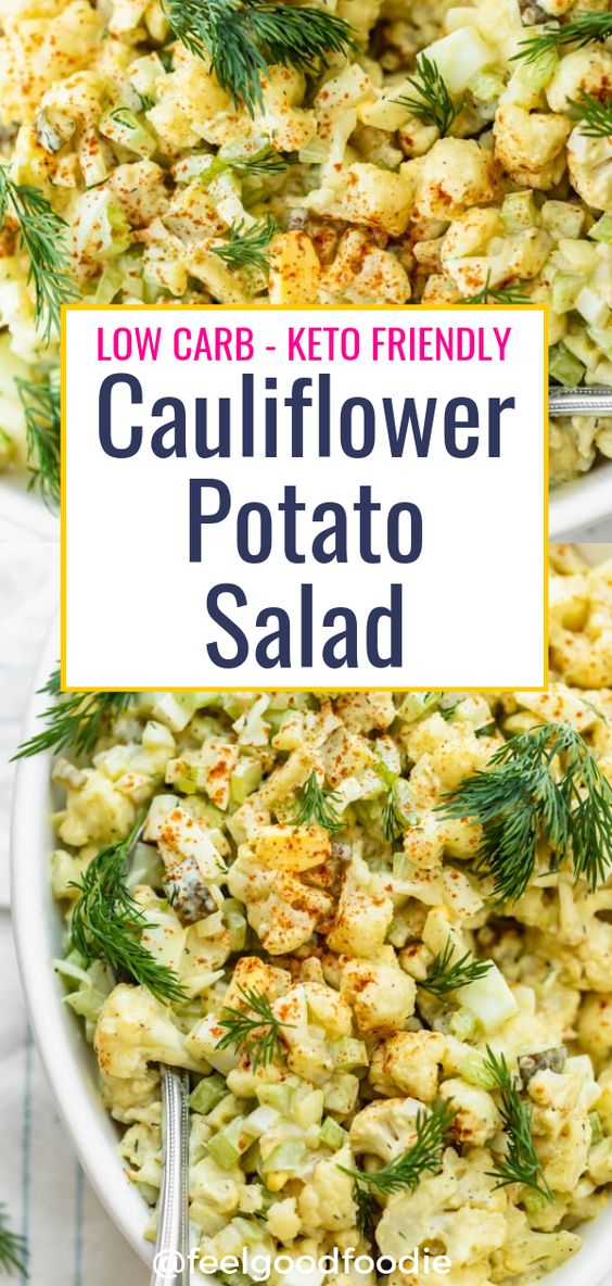 This Cauliflower Potato Salad is made with cauliflower instead of potatoes for a low-carb keto friendly summer salad - just as tasty as the original recipe!
