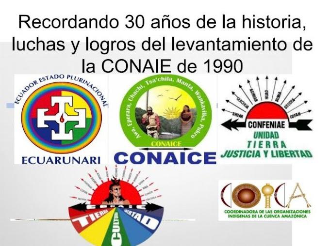 Recordando 30 años de la historia, luchas y logros del Primer Levantamiento Indígena de la CONAIE, 1990