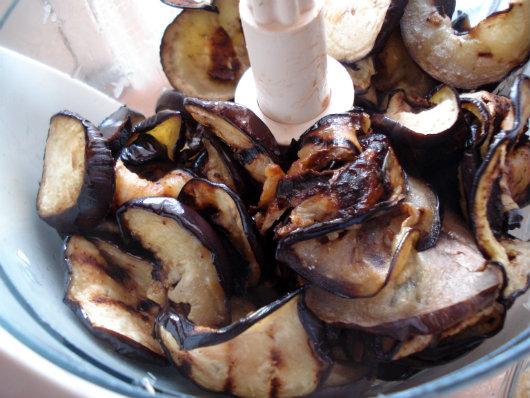 chopping roasted eggplant