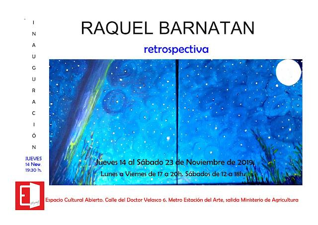 Invitación Raquel Barnatan retrospectiva en Espacio Cultural Abierto.