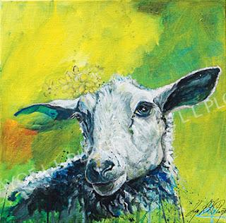 får, sheep, kuns,t galleri, humor ayoe pløger, maleri, lærred, glad, farverig grøn