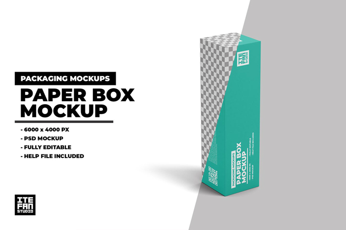Paper Box Standing Position PSD Mockup Free Dwonload