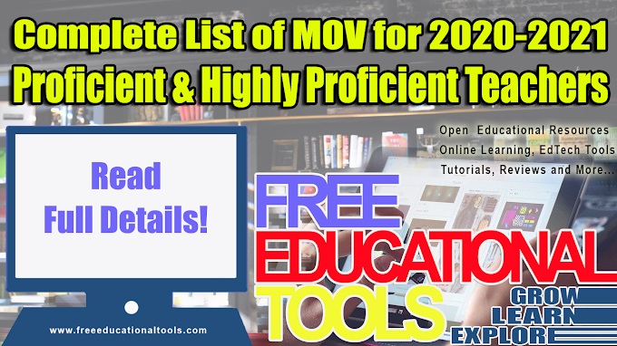 Complete List of Means of Verification (MOV) for School Year 2020-2021