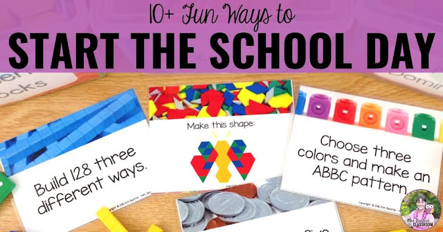 "Photo of morning activities with text, ""Fun Ways to Start the Day in the Elementary Classroom."""