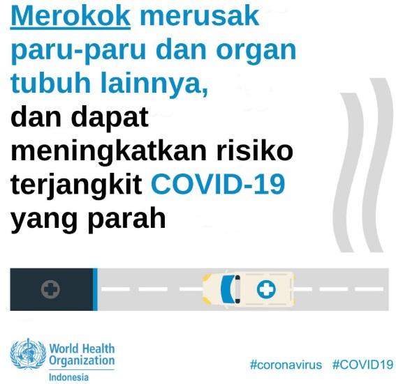 Poster Tentang Merokok Dapat Meningkatkan Risiko Terjangkit COVID-19