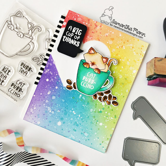 Big Cup of Thanks card by Samantha Mann | Newton's Mug Stamp Set, Heart Frames Die Set and Speech Bubbles Die Set by Newton's Nook Designs