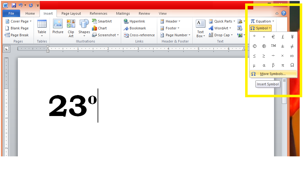 Inserting the Degree Symbol, by using the ribbon