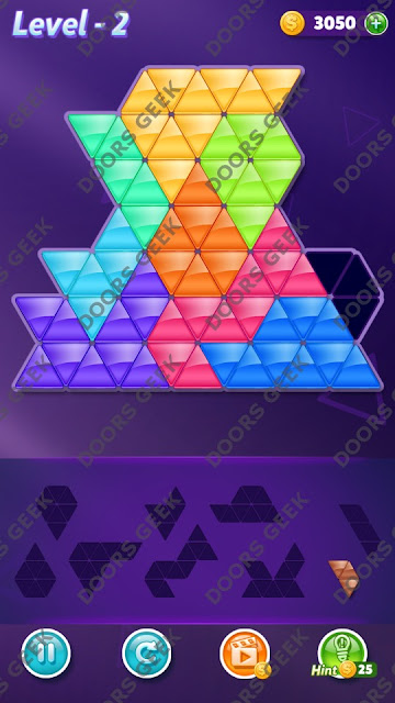 Block! Triangle Puzzle 9 Mania Level 2 Solution, Cheats, Walkthrough for Android, iPhone, iPad and iPod