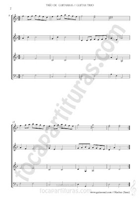 """2 Partitura para tres guitarras y bajo. Partituras del Trío de Guitarra para la composición """"La Danza de las Hachas"""" Guitar trio + bass sheet music"""