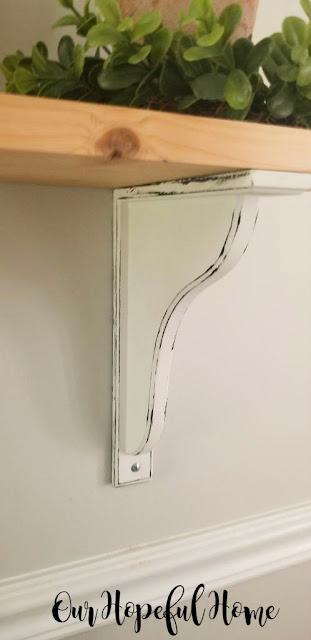 "Ikea Hensvik 7"" reversible white corbel distressed"