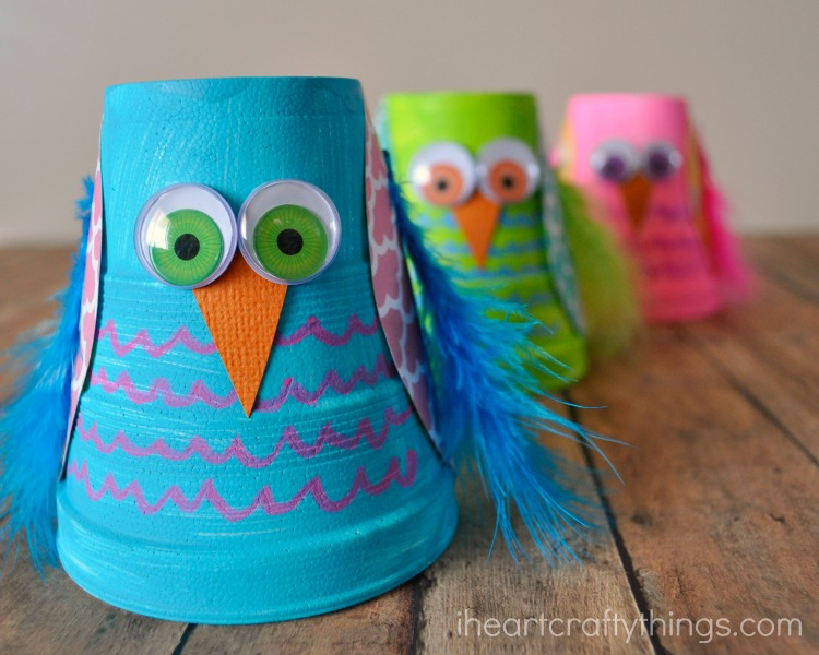 Wonderful Cute and Colorful Styrofoam Cup Owl Kids Craft | I Heart Crafty Things PY08