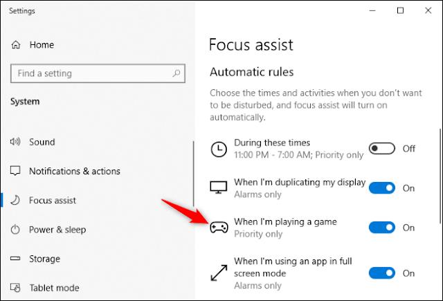 عرض خيارات القاعدة التلقائية المفصلة لـ Focus Assist