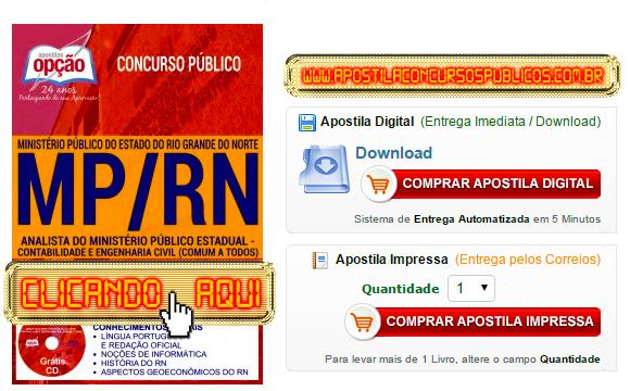 Apostila Concurso MP RN 2017 Analista Contabilidade PDF Impressa