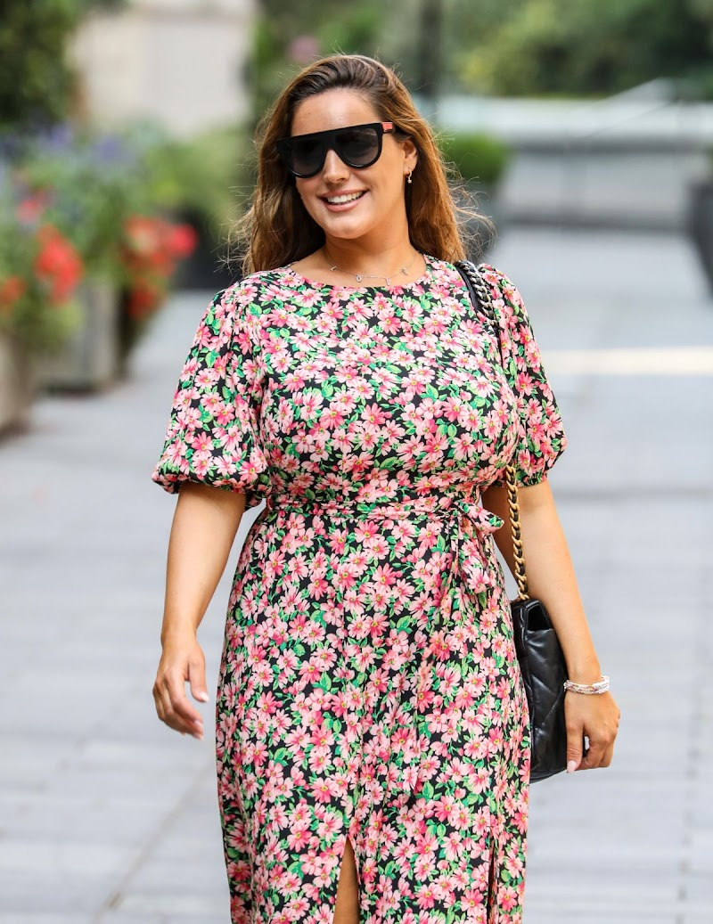 Kelly Brook Clicked in a Floral Summer Dress Leaves Global Radio in London 11 Aug -2020