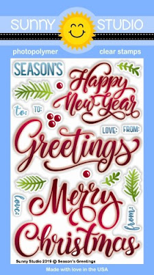 Sunny Studio Stamps: Season's Greetings Large Christmas Sentiment 4x6 Photopolymer Clear Stamp Set