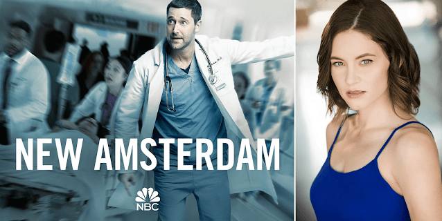 Image of actor Ryan Eggold in white coat and blue jumpsuit, New Amsterdam lettering and image of deaf actress Sandra Mae Frank with half auburn hair and navy blue tank top
