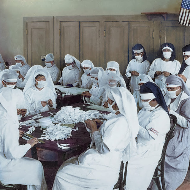 Mask manufacturing by red cross during Spanish flu