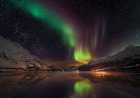 Aurora over Laksvatn Fjord