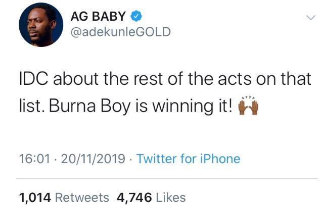 Adekunle Gold & Simi congratulate Burna Boy for his 2020 Grammy Award Nomination