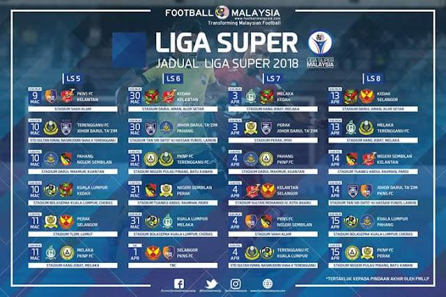 Jadual Perlawanan JDT 2018 Liga Super