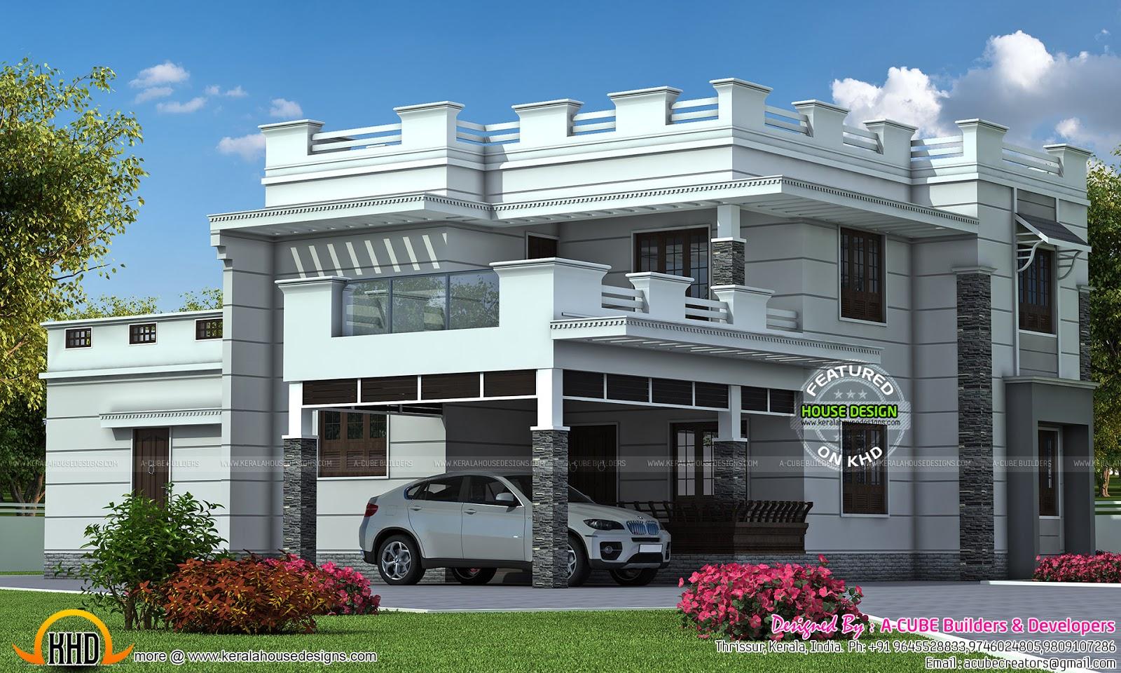 Decorative Flat Roof : Decorative flat roof home kerala design and floor plans