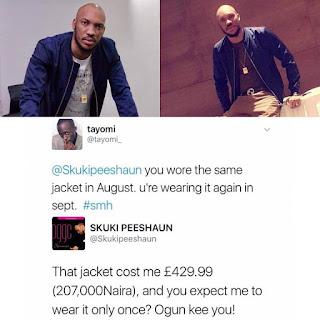 "Xtras: ""Ogun Kill You,"" Skuki Peeshaun Tells A Fan Who Wants Him To Stop Wearing His ""Expensive"" Jacket"