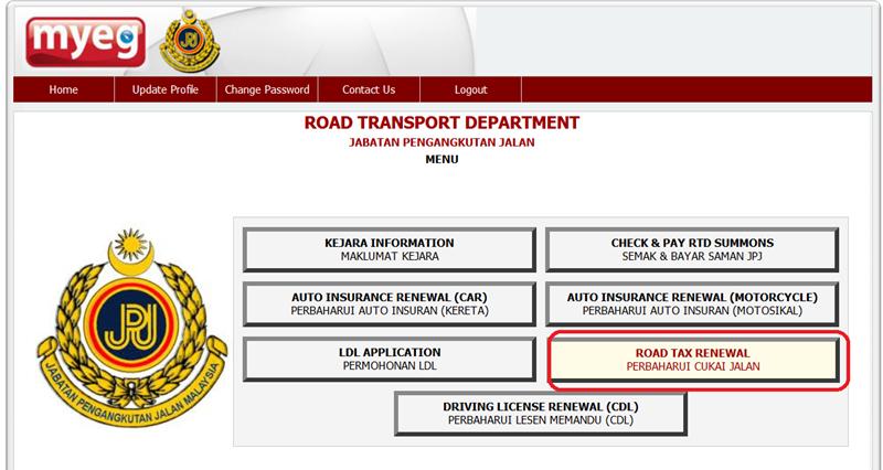 Cara Renew Roadtax Online
