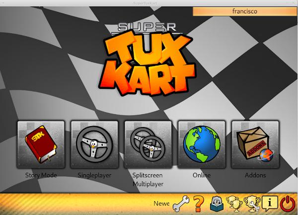 Tela inicial do Jogo SuperTuxKart
