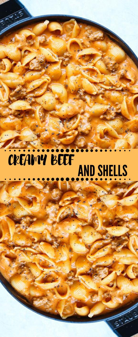 CREAMY BEEF AND SHELLS #vegetarian #mushroom #vegan #Lunch  #spaghetti
