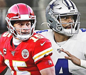 Mahomes, Prescott, Top 20, highest-paid, most expensive, Quarter-Backs, QBs, NFL football.