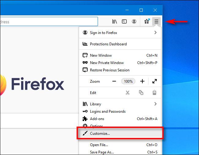 """انقر فوق قائمة الهامبرغر في Firefox ، ثم انقر فوق """"تخصيص""""."""