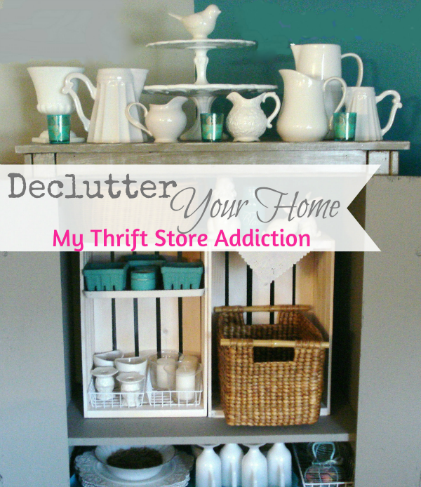 The Thrifty Way to Declutter Part 1  mythriftstoreaddiction.blogspot.com Organize an armoire with thrift store baskets for extra storage