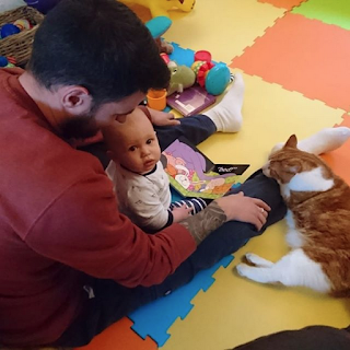man reading book to baby while ginger and white cat sleeps on his leg