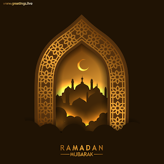 Ramadan Mubarak images crescent moon mosque islamic arch pattern design