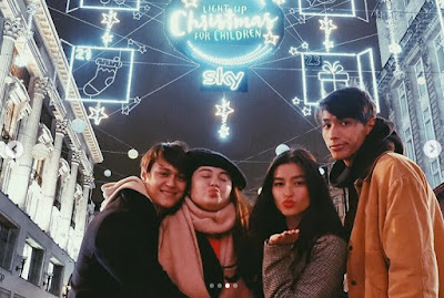 Liza Soberano and Enrique Gil LIZQUEN on Oxford Street, UK on Christmas 2017 with Justin Soberano and Andie Gil