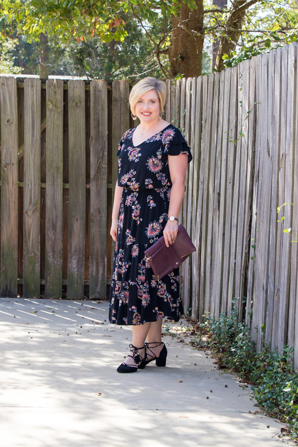 perfect fall dress, floral dress, flutter sleeve dress, midi dress