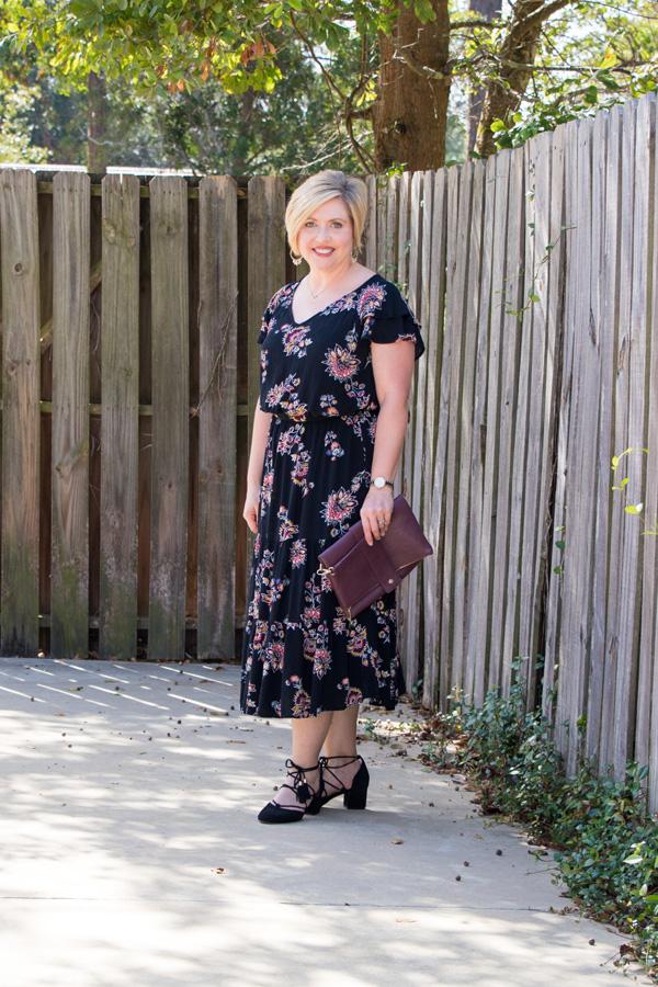 perfect fall dress, floral dress, flutter sleeve dress, midi dress